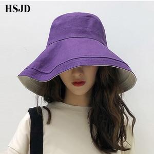Image 3 - Double sided Beach Hats Women Summer Large Wide Brim Foldable Sun Hat Chapeau Female Girl Plain Anti UV Sun Visor Floppy hat