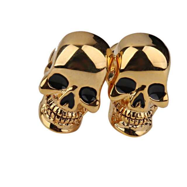Gold Ghost Skeleton Skull Head Cufflinks for Men
