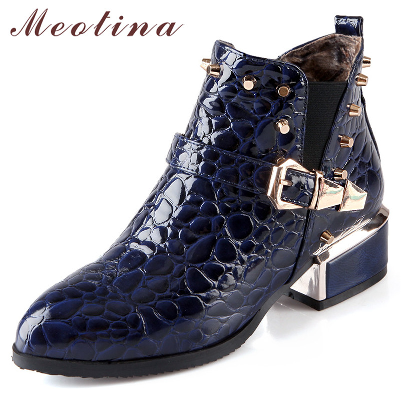 411647dcdf3 US $28.32 48% OFF|Meotina Autumn Chelsea Boots Women Patent Leather Buckle  Thick Heels Ankle Boots Rivets Pointed Toe Shoes Lady Winter Size 34 39-in  ...