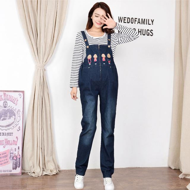 Calças das Mulheres do sexo feminino Macacão Jeans de Ganga Para Mulheres Grávidas Maternidade Calças Outono Inverno Macacão Roupa Gravidez GH166
