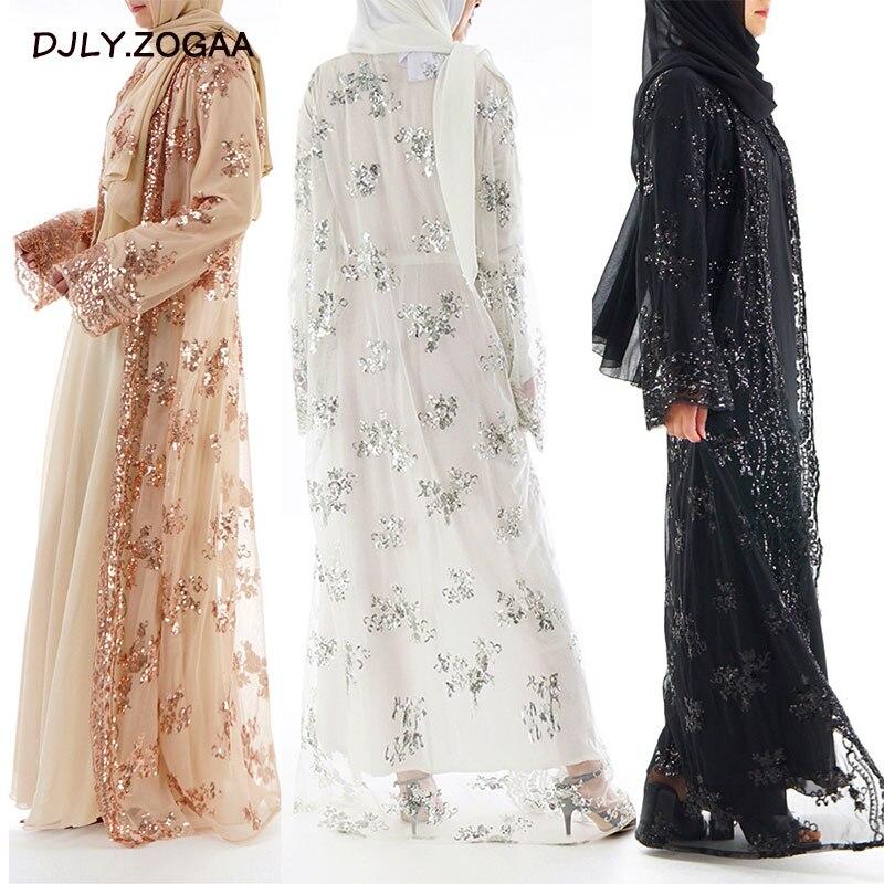 Offre spéciale femmes musulmanes longue jupe Cardigan de luxe Sequin broderie dentelle sans couture à l'extérieur pour Jilbab Abaya dubaï