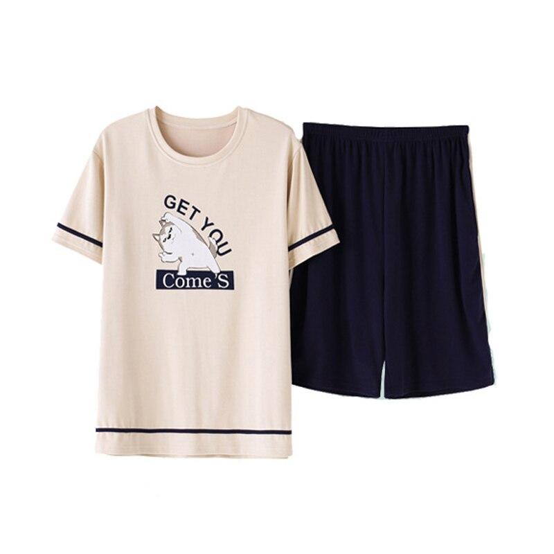 Pajamas-Set Sleepwear-Boy Cotton Clothing-Set Short-Sleeved Summer For Men Household
