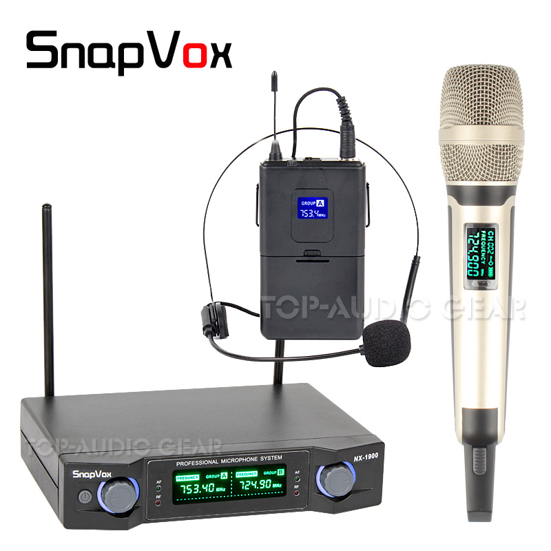 1 x Headset Headworn and 1 x Handheld Mic Professional Wireless Microphone System For Karaoke Singing