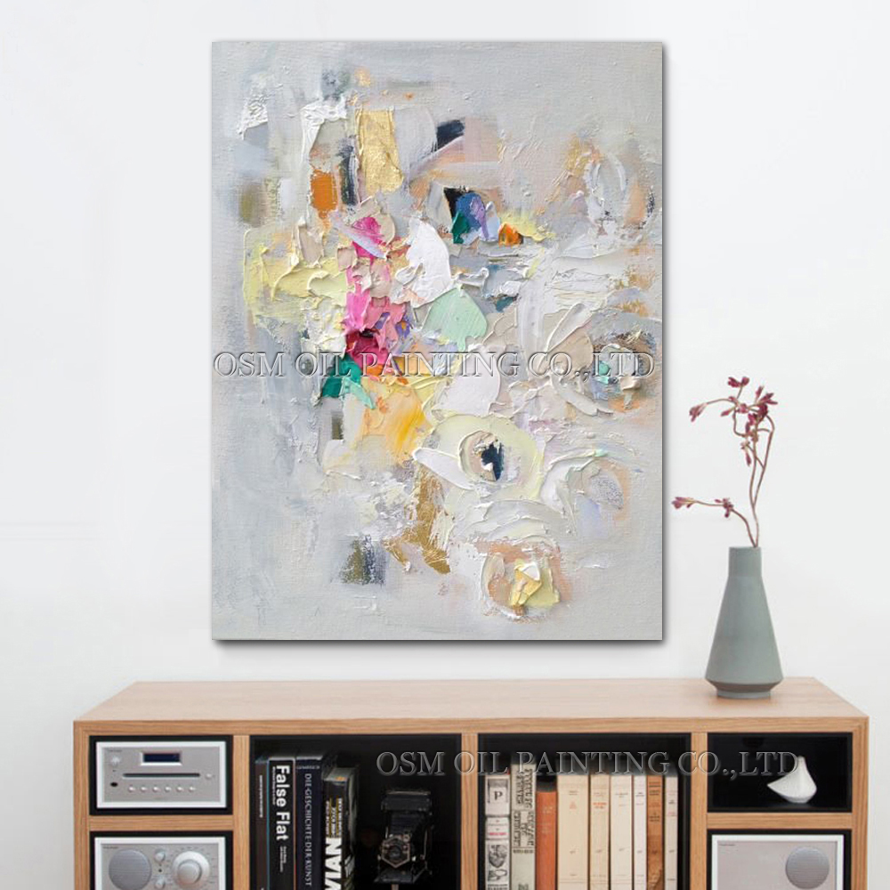 Professional Artist Pure Handmade High Quality Light Silver and White Oil Painting on Canvas Abstract Picture Art Painting