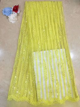 2019 Latest yellow Nigerian Laces Fabrics High Quality African Laces Fabric For Wedding Dress French Tulle Lace With Beads JX31