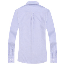 Men's Striped Oxford Spinning Casual Long Sleeve Shirt Blue Comfortable breathable Collar Button Design 2018 Spring Autumn New