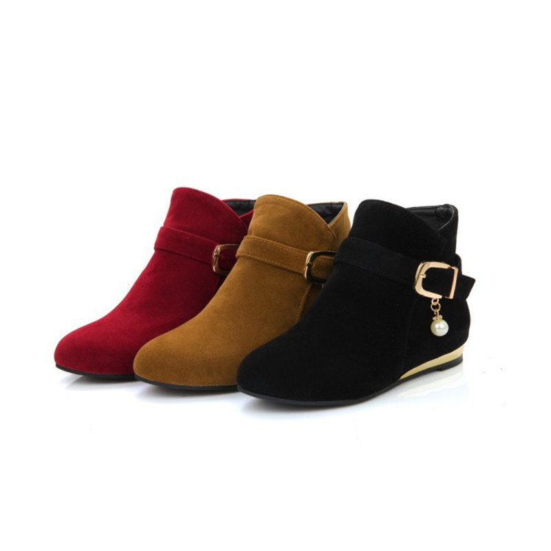Lady Suede Buckle Zip Crystal big size Boots 34-43 Wedges Plush Winter Warm Ankle Botas Women Shoes British Short Booty Low Heel wetkiss big size 32 43 genuine leather pointed toe ankle boots women 2017 winter boots short plush keep warm wedges shoes woman