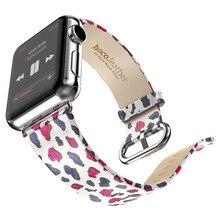 2016 новая мода розовый леопард полосы для apple часы реального кожаный ремешок для я часы абстрактный замена официальный цвета горячая продажа