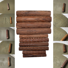 Wood Texture Roll Pin for Clay Emboss Pressed Print Chinese luck Cloud Wave Pattern Polymer Ceramic Pottery Tools 10pcs/set