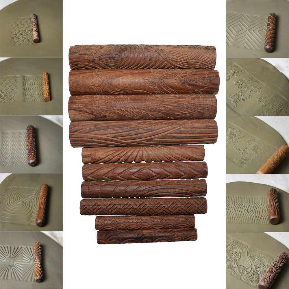 Wooden Clay Texture Rolling Pin Emboss Plaid Cloud Wave Pattern Dough Roller Polymer Clay Ceramic Pottery Tools 10pcs/set