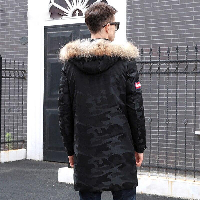 Affari Inverno Uomini Cappotto Lungo Caldo Casual Nuovi Nero Con  Imbottiture Di Black D anatra Bianca Giacca Collo Cappuccio Camouflage ... 5cc5e4d998e