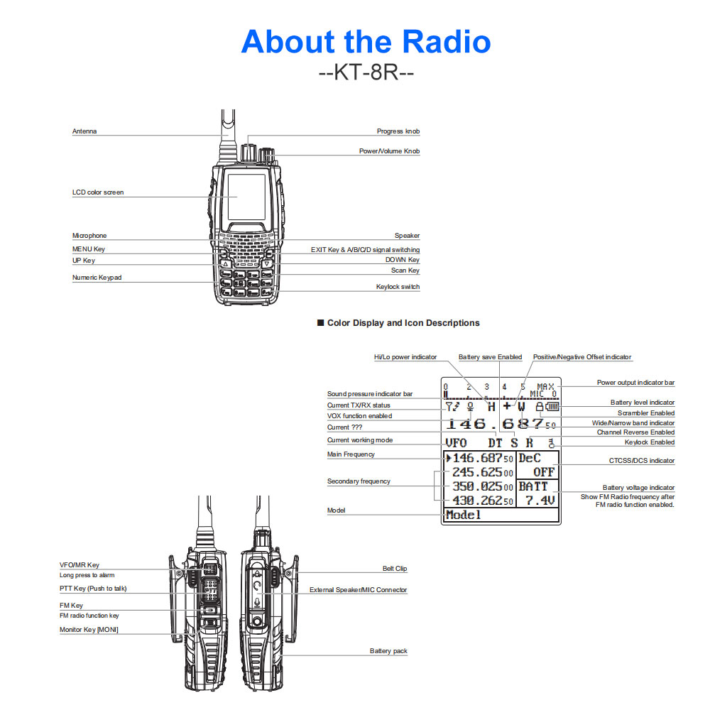 hight resolution of qyt kt 8r quad band handheld radio 136 174mhz 220 260mhz 400 480mhz 350 390mhz kt8r 5w uv two way radio color display in walkie talkie from cellphones