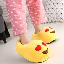 Emoji Plush Stuffed Unisex Slippers Cartoon Winter Indoor Home Slipper Emoji Slippers Plush Home Wooden Floor  Women Shoes