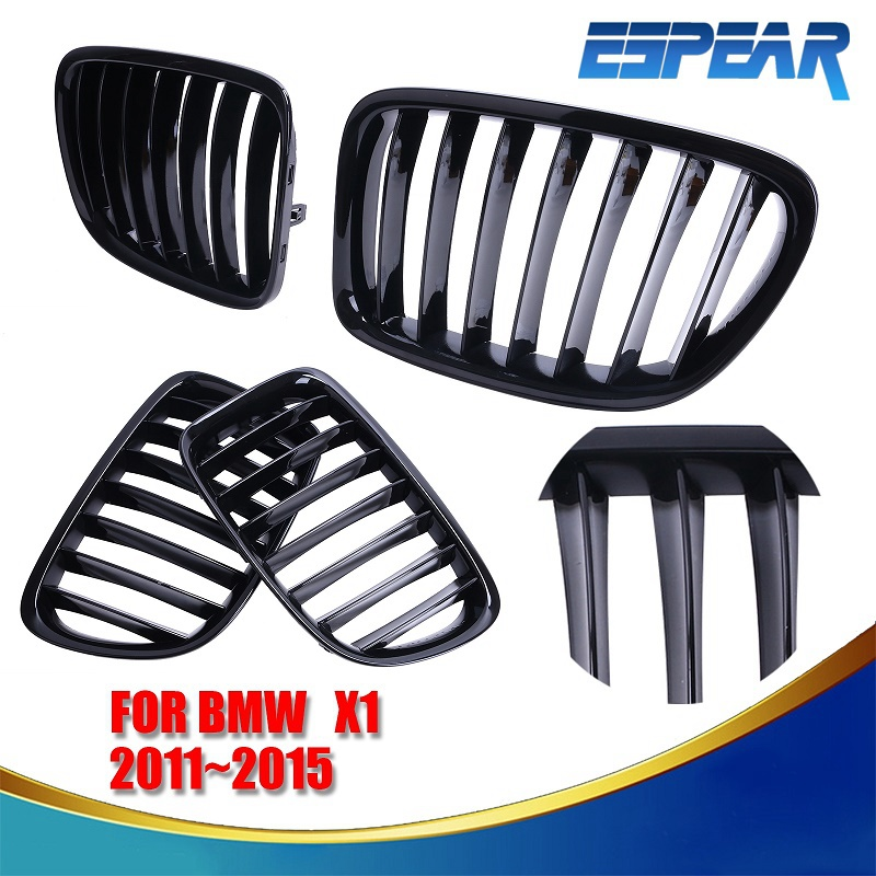 ФОТО 2x Gloss Black Front Grilles SUV Kindly Grill Lattice For BMW E84 X1 2010 2011 2012 2013 2014 2015 2016 #9224