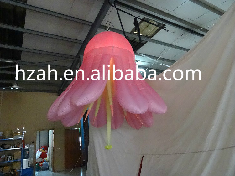 Giant Hanging Inflatable Pink Flower for Wedding Decoration giant inflatable balloon for decoration and advertisements
