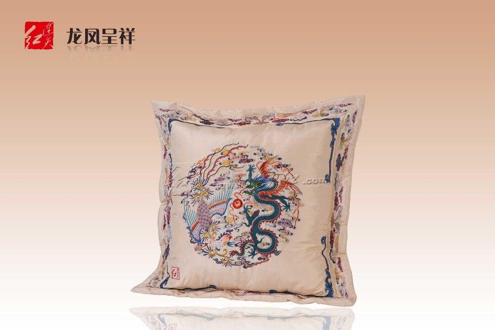 Geborduurde sild stoel cusion draak en phoenix rejoicing ontwerp