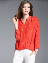 The spring of 2017 in Europe and the United States women's silk shirts printed irregular loose long v-neck shirt, 5247