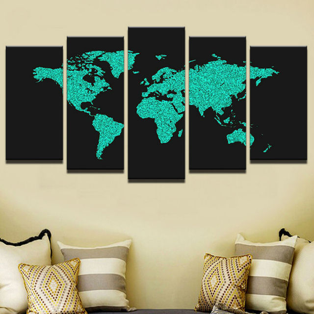 Modern frames for print modular cheap pictures 5 panel world map modern frames for print modular cheap pictures 5 panel world map wall art for living room gumiabroncs Gallery