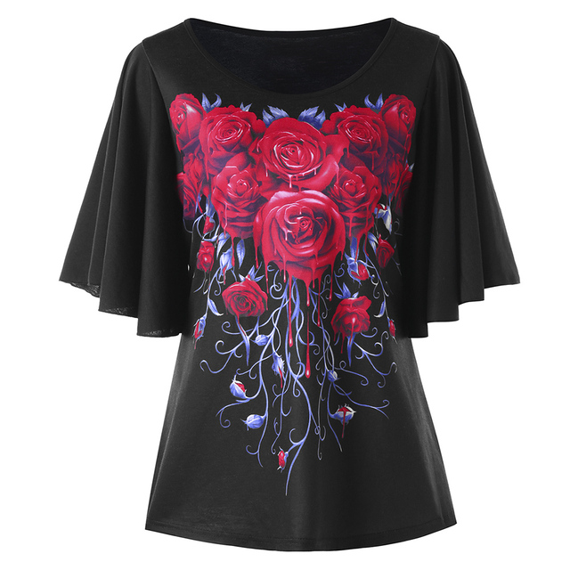 2eadcd10675 Gamiss Plus Size 5XL Rose Bell Sleeve Tunic Top Women Clothing Large Size  Blusas Casual T