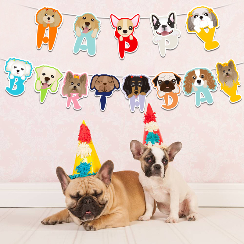5m Cartoon Animal Dogs Dot Paw Paper Flags Happy Birthday Letter Pet Banners Bunting Kids Birthday Party Decoration Supplies Banners Streamers Confetti Aliexpress