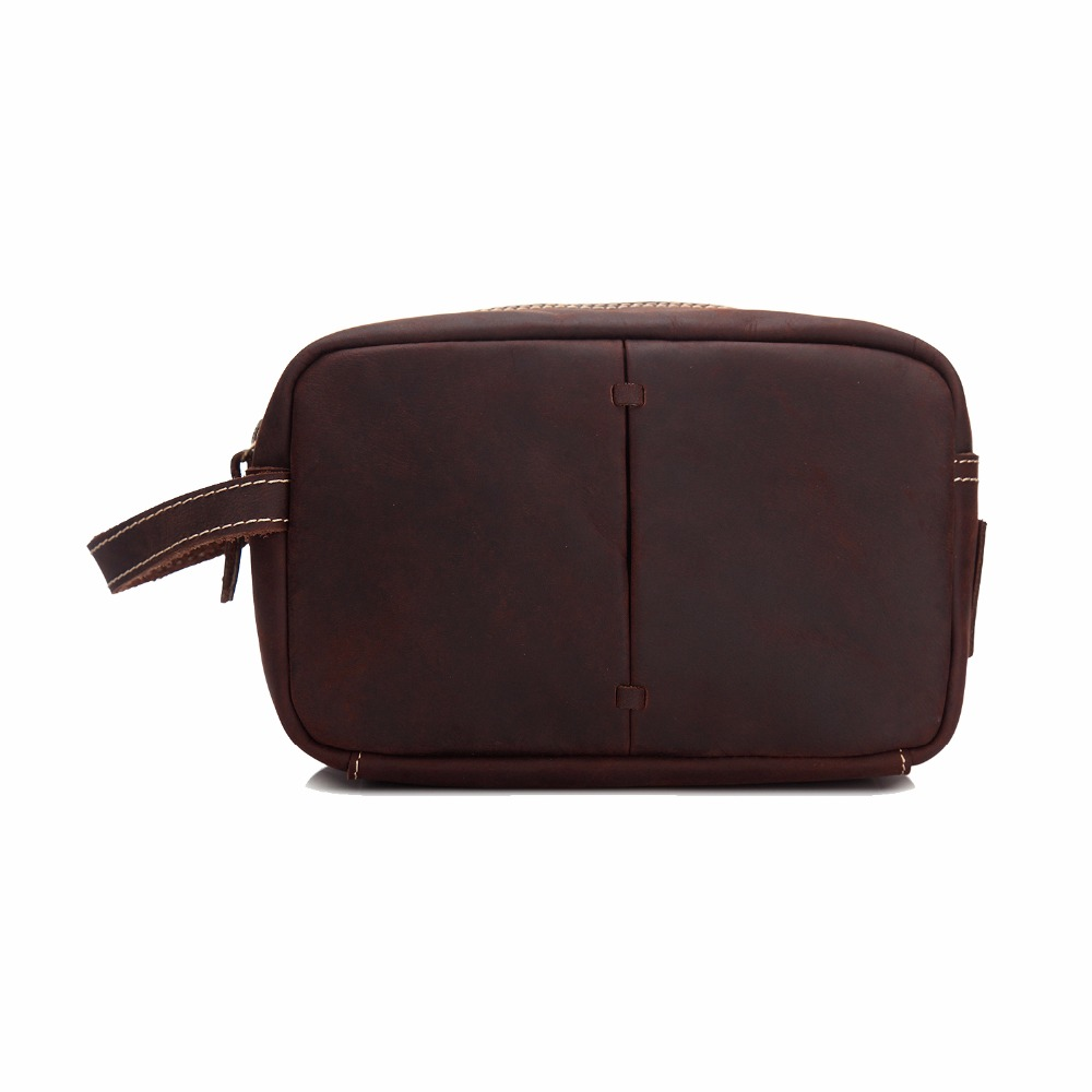 Genuine Cowhide Leather Vintage Style Cosmetic Handbag Makeup Toiletry Necessaries Make Up Case Bag Organizer Bag MS3331