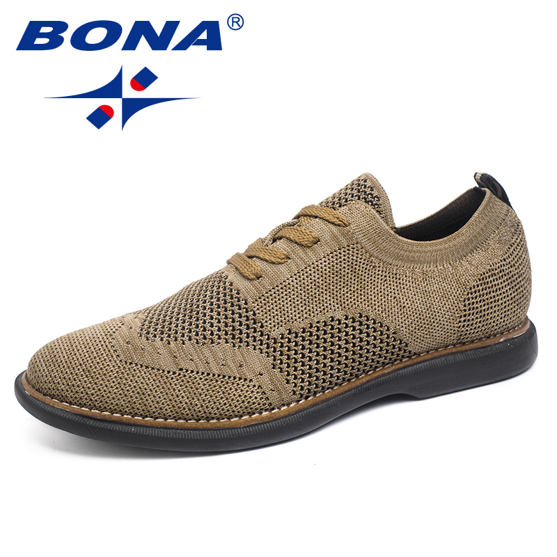 BONA Men Shoes Oxfords New-Fashion-Style Flats Super-Light Comfortable Flying-Weaven