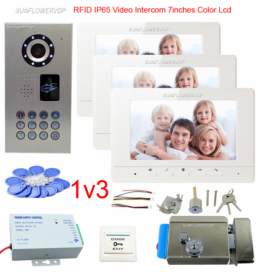 Rifd IP65 Waterproof Doorbell Camera 7 Color Monitor Wired Home Video Intercom wired video door entry For 3 Apartments + Lock