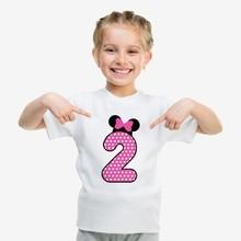 Interesting Birthday Present Number Bowknot Cute Cartoon Modal Kidswear, Boy/girl Summer T-shirt Short Sleeve White Kid Clothes