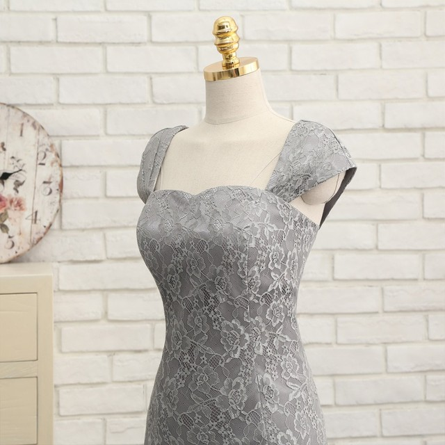 Gray 2019 Mother Of The Bride Dresses Sheath Cap Sleeves Lace Short Wedding Party Dress Mother Dresses For Wedding With Jacket