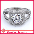 Carraton RSQD1057 High Quality Swiss Diamond Splendid Big Flower Real 925 Silver Ring