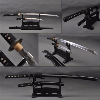 Juego de espadas de samurái japonesas Vintage, Katana de hoja de acero de alto carbono y acero de alto carbono, cuchillos japoneses afilados
