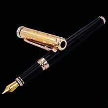 Duke Noble Sapphire Fountain Pen Iridium Medium Nib , Black Barrel & Golden Cap Business Office Home School Supplies цена 2017