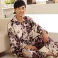 The new autumn and winter men's silk pajamas silk printed long-sleeved men's tracksuit printing