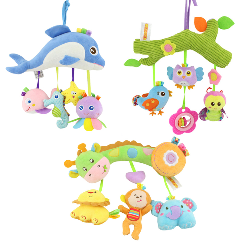 Baby Rattle Toys for a Stroller Animal Doll Crib Hanging Teethers Mobile on the Bed Rattles Educational for Newborn Babies ZJD infant multifunctional rattles bed stroller mobile baby toys newborn cartoon dog hanging grasp educational toy crib baby rattle