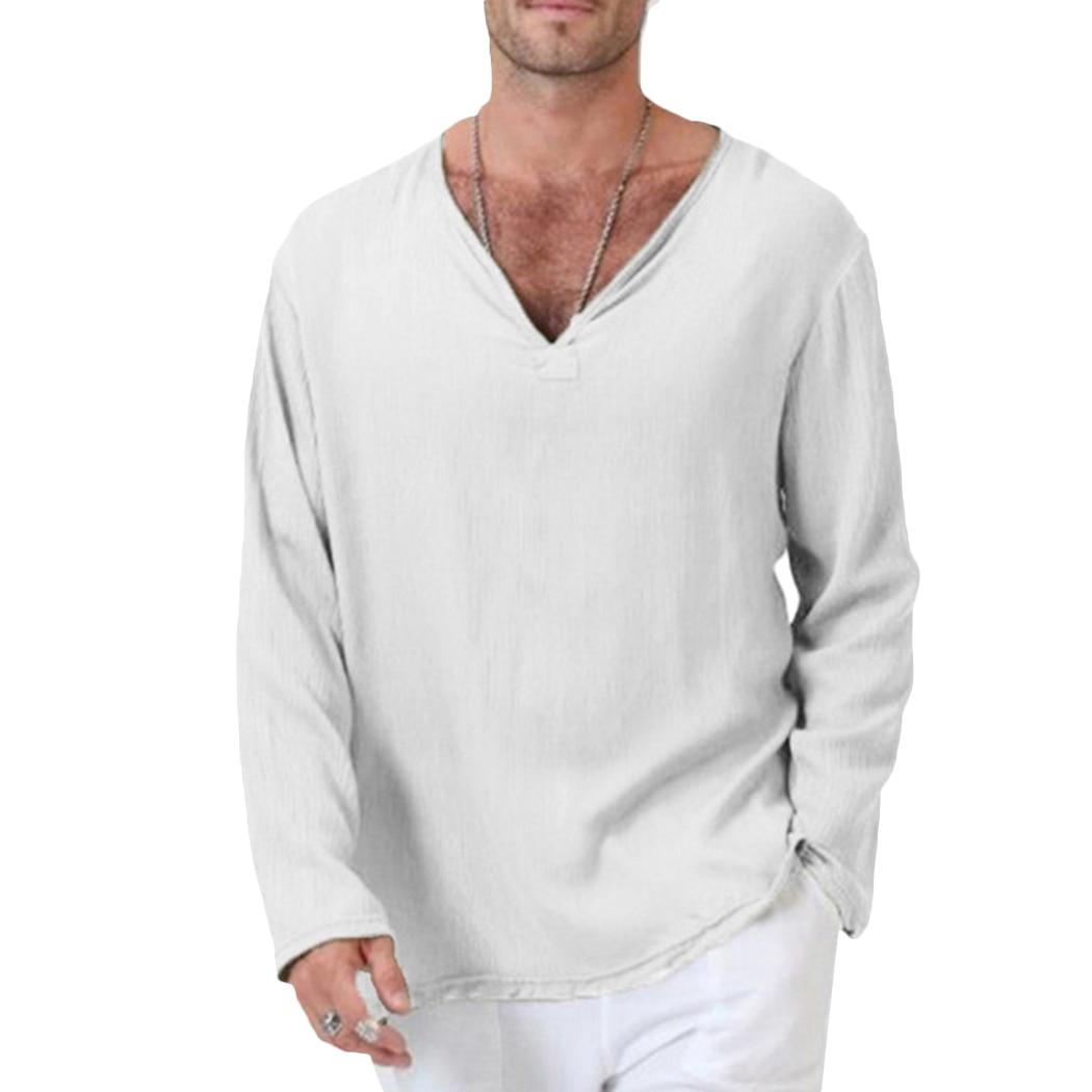 Fashion Men White Cotton Linen T Shirt Mens Vintage Long Sleeve V Neck Loose Tops T Shirt Casual Green Tee Shirt Plus Size X