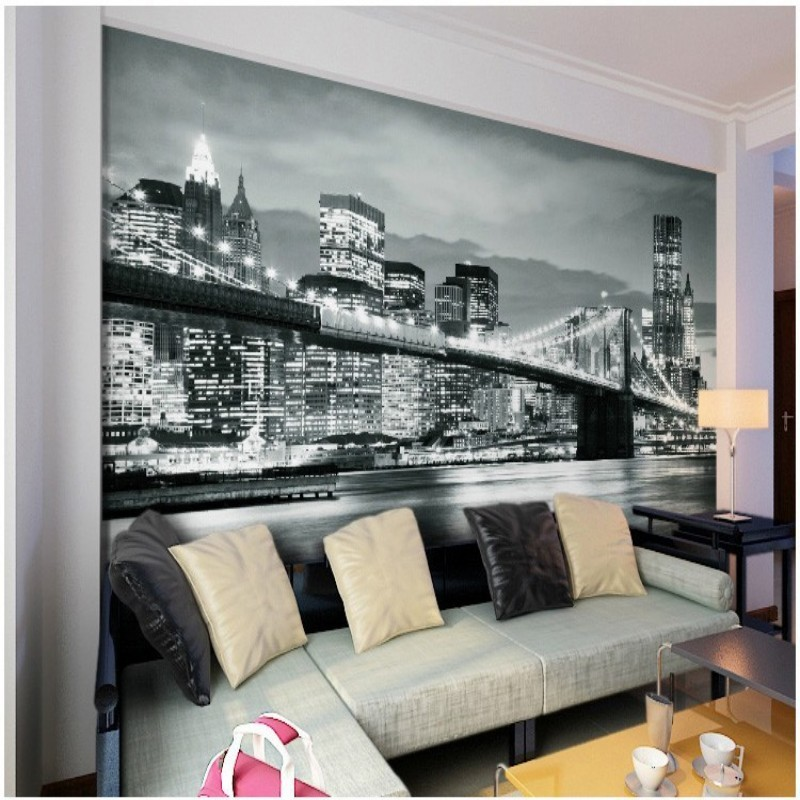 Buy custom made photo wallpaper black and for Black and white new york mural wallpaper
