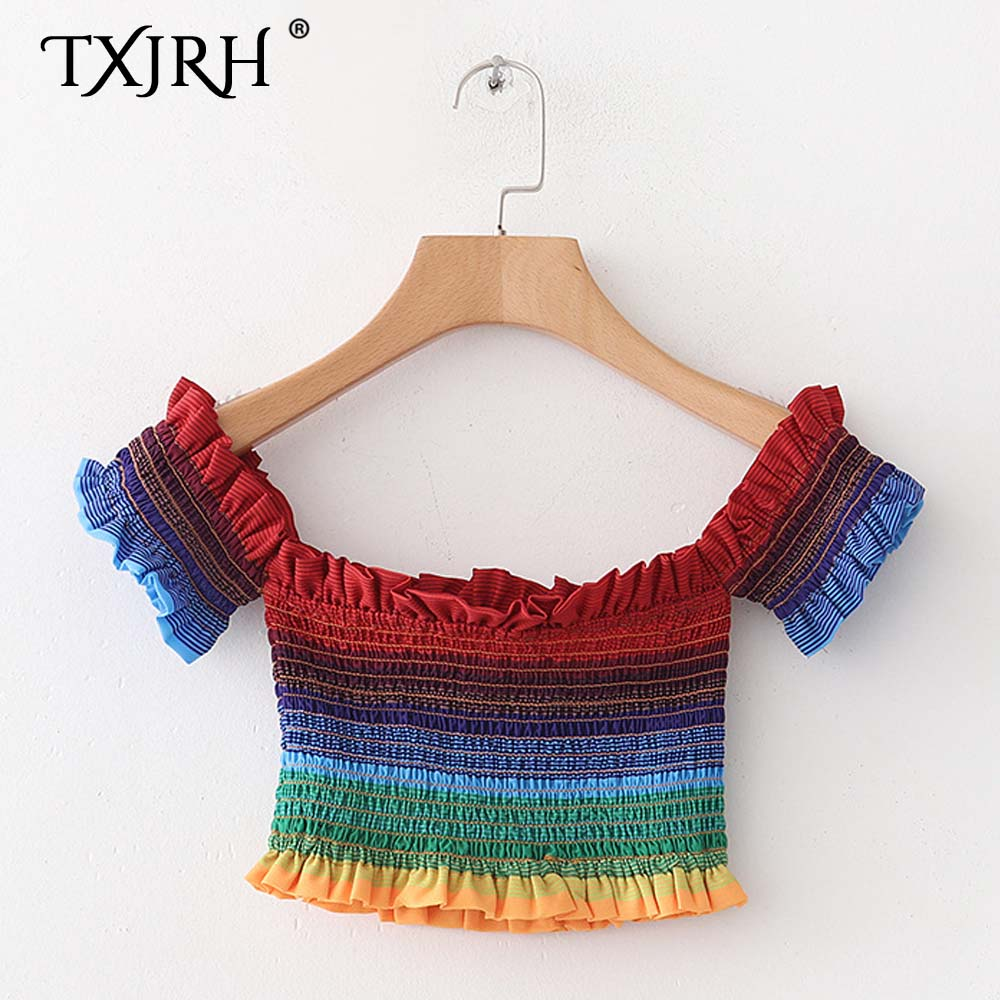 TXJRH Sexy Colorful Rainbow Striped Ruffles Ruched Elastic Slash Neck Tee Tight Slim Short T-Shirt Off the Shoulder Crop Tops