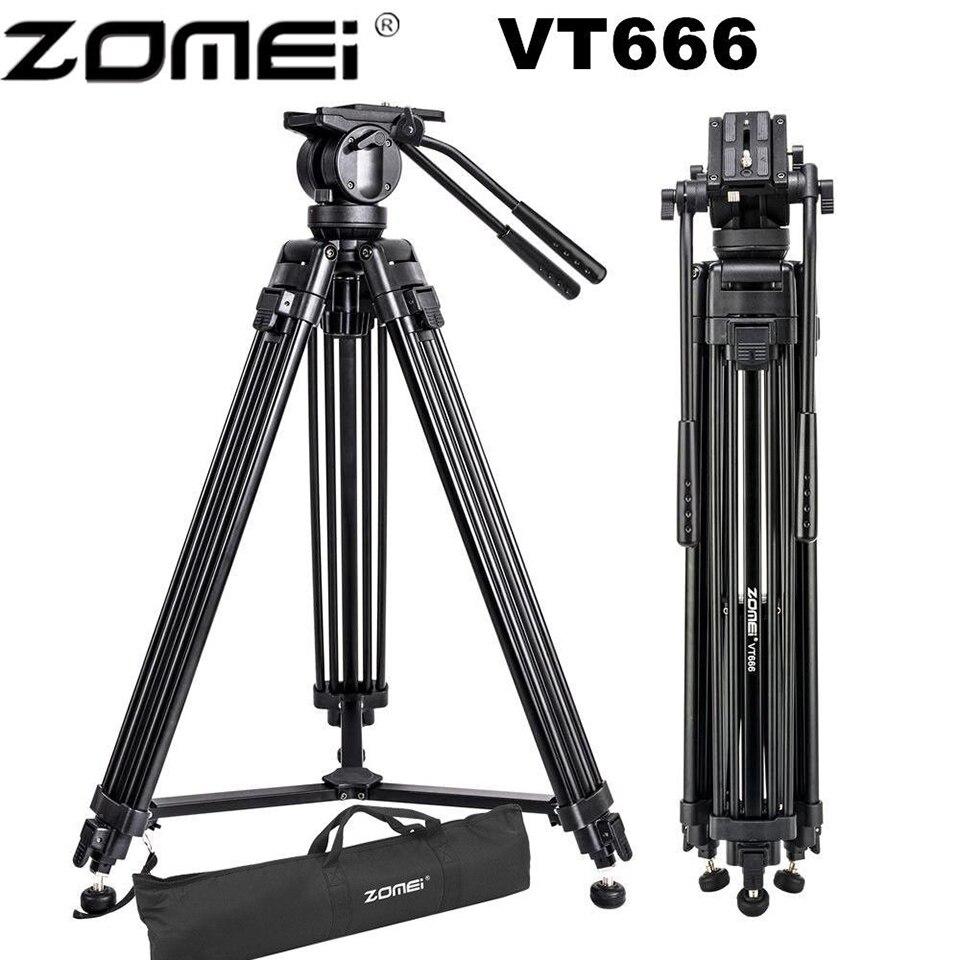 Zomei VT666 Heavy Duty Estável Vídeo Profissional Tripé de Câmera Tripé Com 360-D Fluid Panorâmica Cabeça Para DSLR Dv