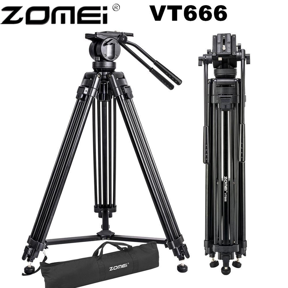 все цены на Zomei VT666 Professional Camera Tripod Heavy Duty Stable Video Tripode With 360-D Fluid Panoramic Head For DSLR Camcorder DV онлайн