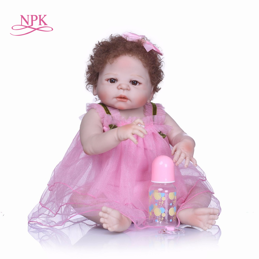 NPK Newborn doll 57 cm Realistic Full Silicone 23'' Reborn Baby Doll For Sale Lifelike Baby Alive Dolls Kids Playmate Xmas Gifts цены