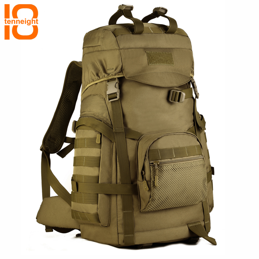 TENNEIGHT 60L large capacity outdoor climbing bag Military tactical backpack Nylon waterproof Sport Camping Backpack Hunting Bag large capacity 60l waterproof handbag military tactical backpack outdoor sports camping climbing camouflage molle luggage bags
