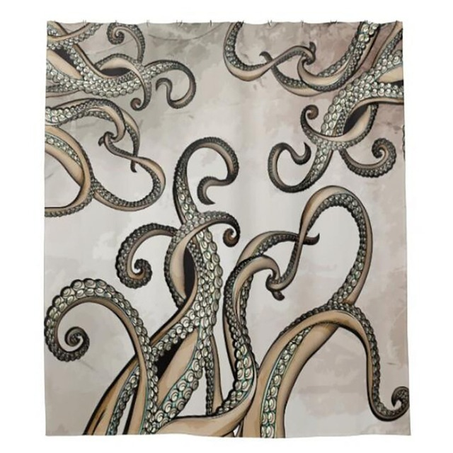 Octopus Shower Curtains Hooks Bathroom Curtain Waterproof Fabric Polyester Bathing Home Decal Bath Decor