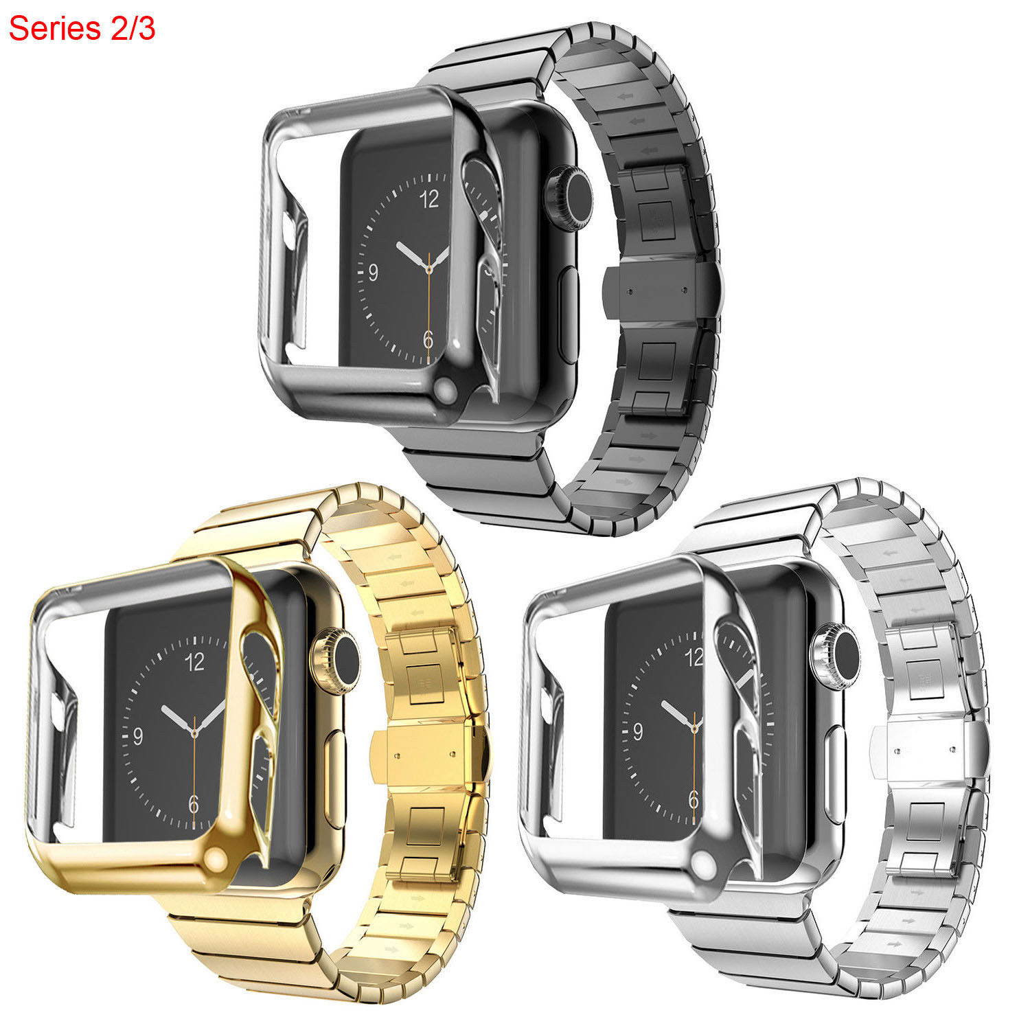 Protective Cover + Stainless Steel Link Bracelet for Apple Watch Series 3 2 Band For iWatch Strap Gold Plating Case 42mm 38mm sport loop for apple watch band case 42mm 38mm nylon watch strap bracelet with metal frame protector case cover for iwatch 3 2 1