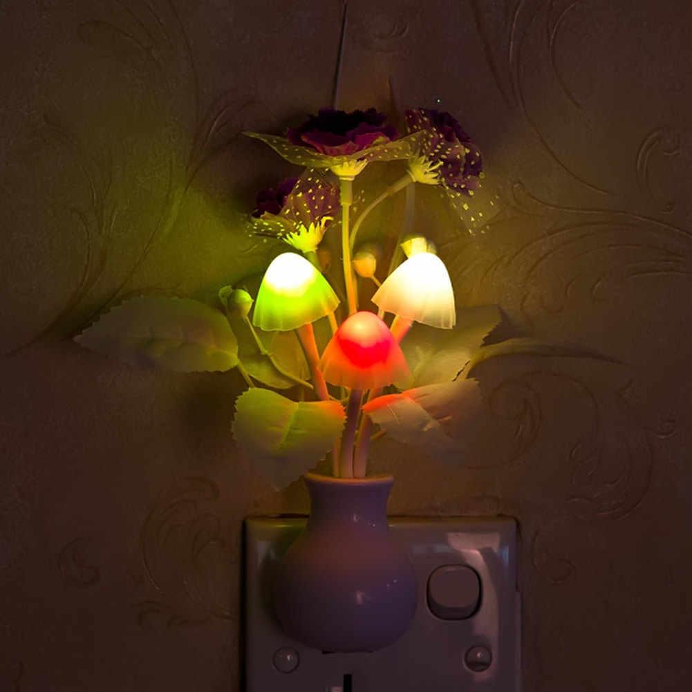 Lampe de nuit, jolie lampe de nuit colorée Lilac, champignon, éclairage de nuit romantique Lilac pour la maison, décoration d'éclairage américain/EU