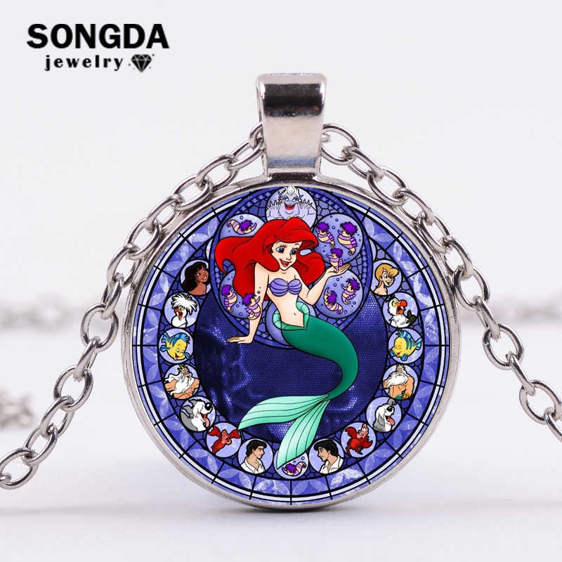 SONGDA Cartoon Baby Girls Little Mermaid Princess Ariel Necklace Children Long Chain Necklace Princess Theme Birthday Party Gift