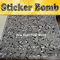 Premium Quality Mysterious Circles Black White Sticker Bomb Sheet Graffiti Air Bubble Free Vehicle Wrap Auto Graphics