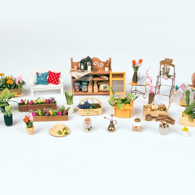 Robotime DIY Doll House Miller's Garden Children's Gift Adult Miniature Wooden Dollhouse Model Building Kits Toys DG108