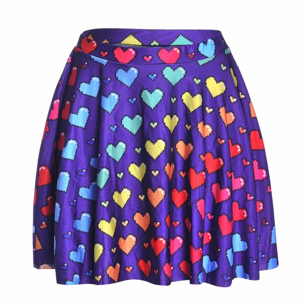 NEW 1215 Summer Sexy Girl Love Ya Bits Rainbow Heart Printed Cheering Squad Tutu Skater Women Mini Pleated Skirt Plus Size