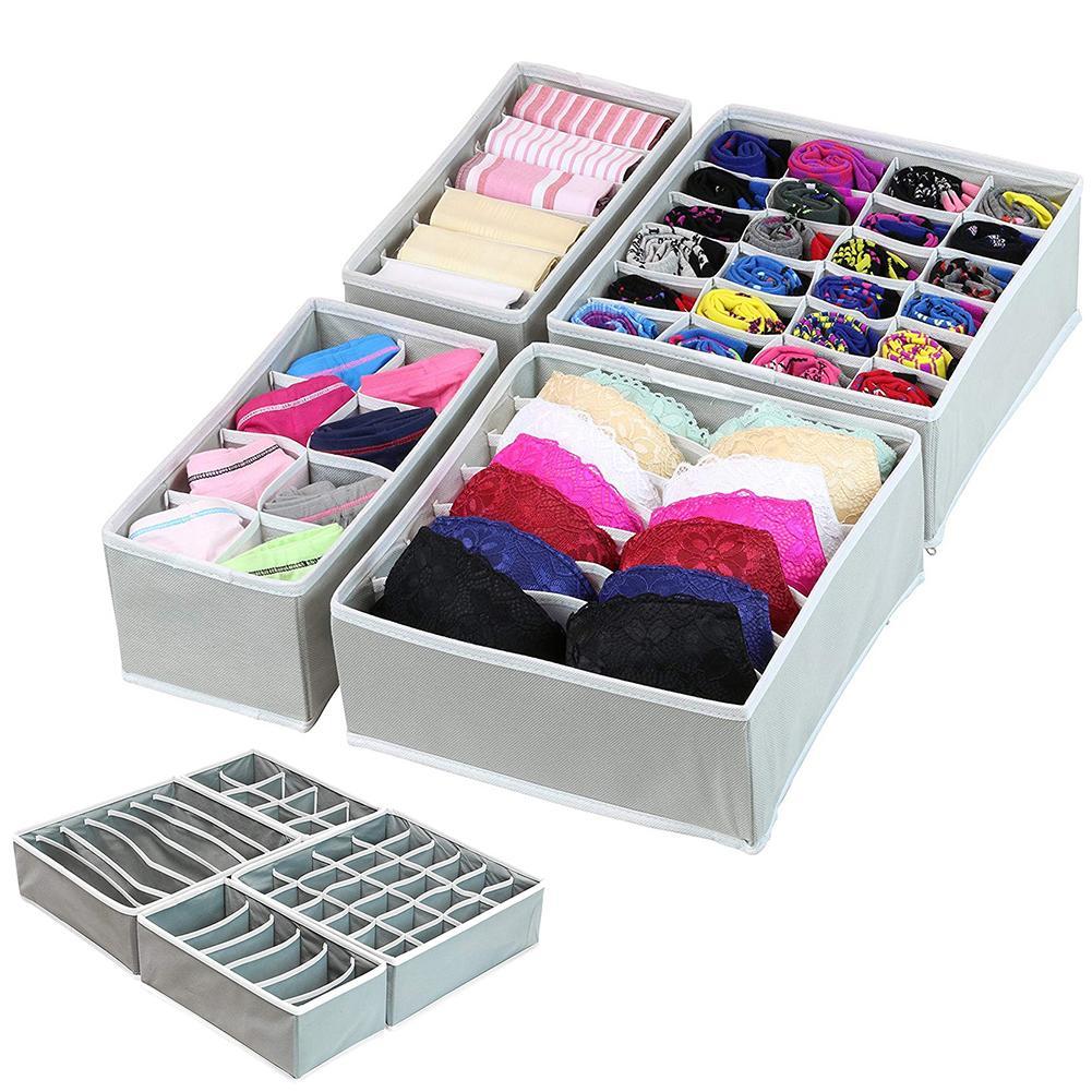 Closet:  4Pcs Multi-size Bra Underwear Organizer Foldable Home Storage Box Non-woven Wardrobe Drawer Closet Organizer For Scarfs Socks - Martin's & Co