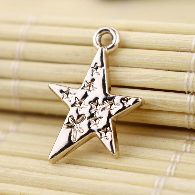 Fashion Star Moon Metal Charms 15x22mm Rose Gold Platting Star